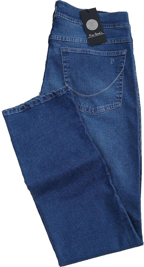 Calça Jeans Masculina Pierre Cardin Reta (Cintura Média) - Ref. 457P944 Delave - Algodão / Elastano (Jeans Fino e Macio)