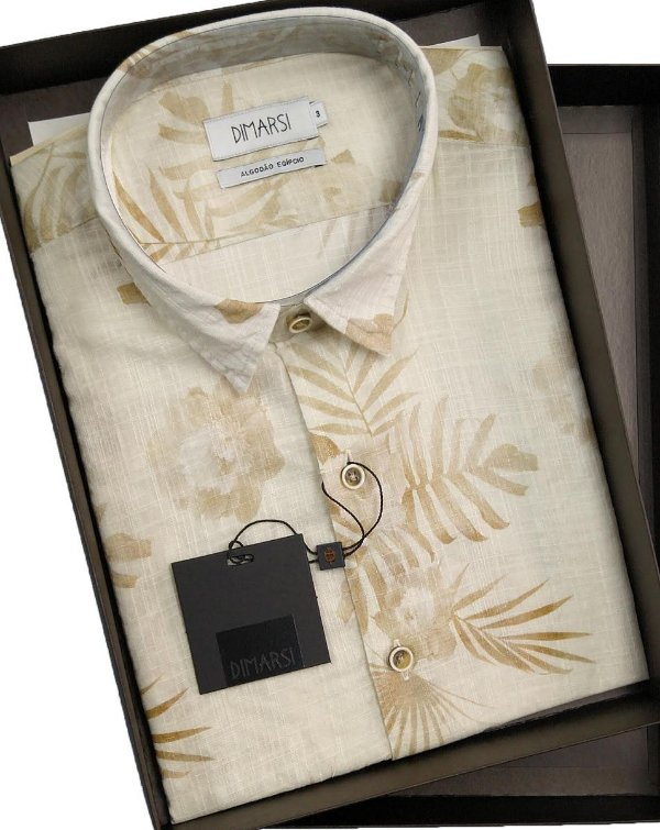Camisa Floral Dimarsi SLIM FIT - Sem Bolso - Manga Curta - Algodão Egípcio - Ref. 8811 Bege