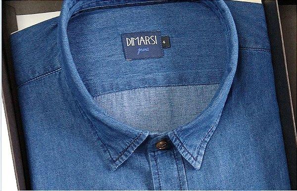 Camisa Jeans Dimarsi - Com Bolso - Manga Curta - 100% Algodão - Ref. 8829 Indigo