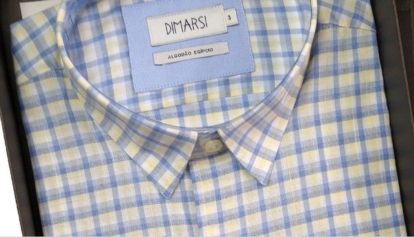 Camisa Dimarsi - Com Bolso - Manga Curta - Algodão Egípcio - Ref. 8863az Xadrez