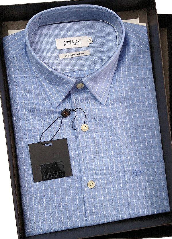Camisa Dimarsi - Com Bolso - Manga Curta - Algodão Egípcio - Ref. 8799 Azul Xadrez