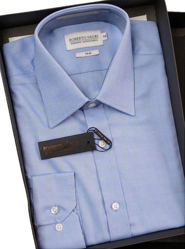 Camisa Social Roberto Negri - Com Bolso - Manga Longa - 100% Algodão - Fio 60 - REF 0940 Azul