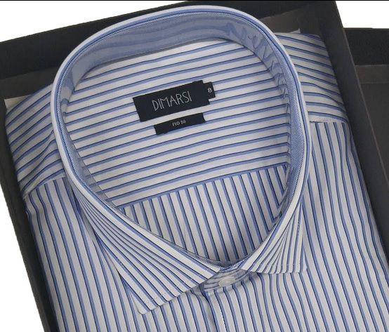 Camisa Dimarsi - Com Bolso - Manga Curta - Fio 80 - 100% Algodão - Ref. 8887AZ - Listrada