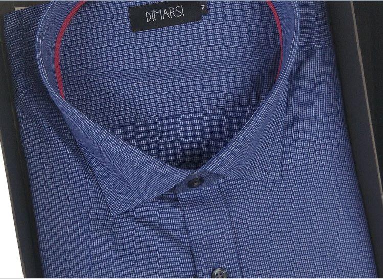 Camisa Dimarsi - Com Bolso - Manga Curta - 100% Algodão - Ref. 7921 Xadrez Azul