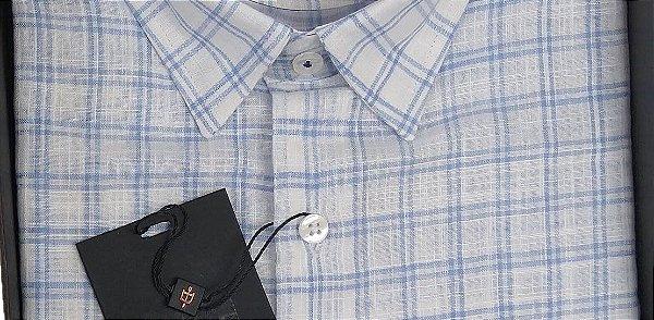 Camisa Dimarsi - Com Bolso - Manga Curta - Algodão Egípcio - Ref. 8823AZ Xadrez