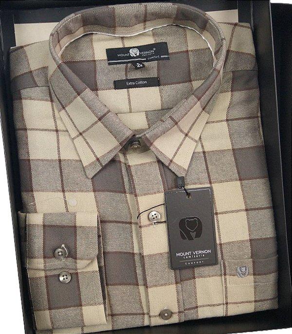 Camisa Fina De Flanela Com Bolso Manga Longa - Mount Vernon - 100% Algodão - Ref. C3309420BG