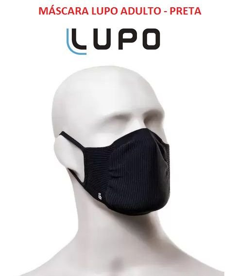 Kit com 2 Mascaras Lupo (ADULTO) Zero Costura - Vírus Bac Off - Tamanho Único - Preta