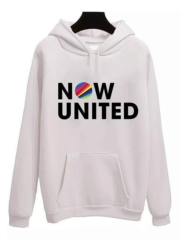 MOLETOM NOW UNITED - BRANCO - com capuz (unissex)