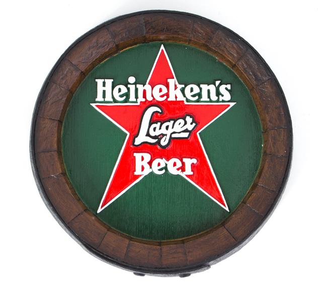 Barril de parede grande em Fibra KG - Decoração - Heineken Estrala Fundo Verde Cerveja
