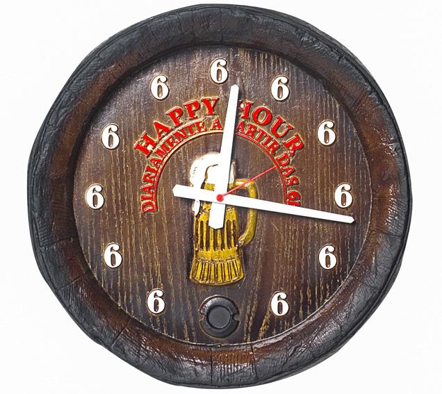 Relógio KG Barril de parede grande em Fibra - Happy Hour