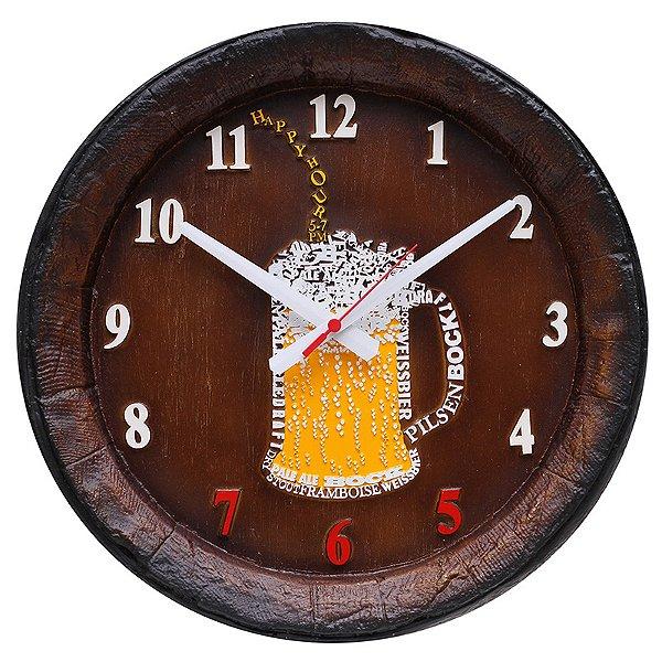 Relógio KG Barril de parede grande em Fibra - Chopp Happy Hour