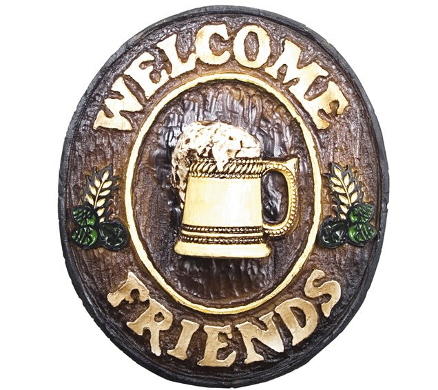 Placa KG Welcome de parede em resina - Welcome Friends Chopp (21 x 25 cm)