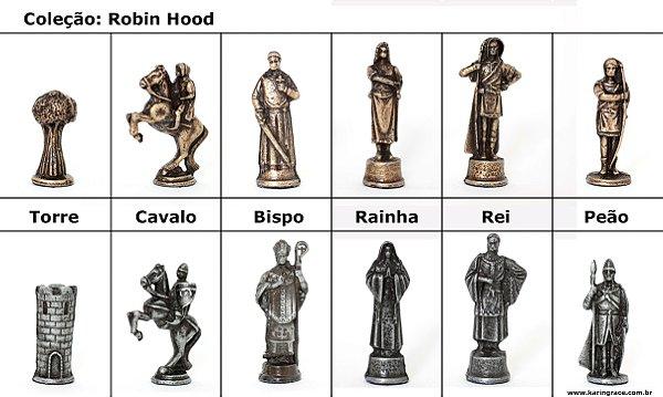 Peças de Xadrez de Ferro - Coleção Robin Hood (32 peças)