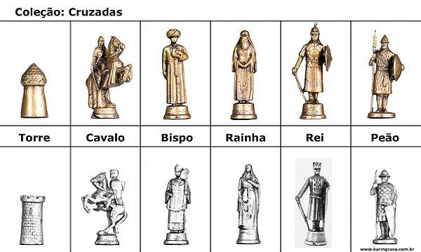 Peças de Xadrez de Ferro - Coleção Cruzadas (32 peças)