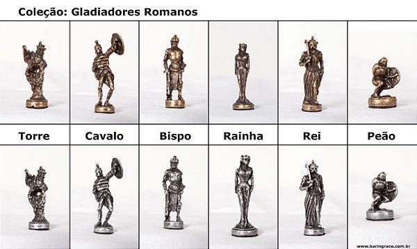 Peças de Xadrez de Ferro - Coleção Gladiadores (32 peças)