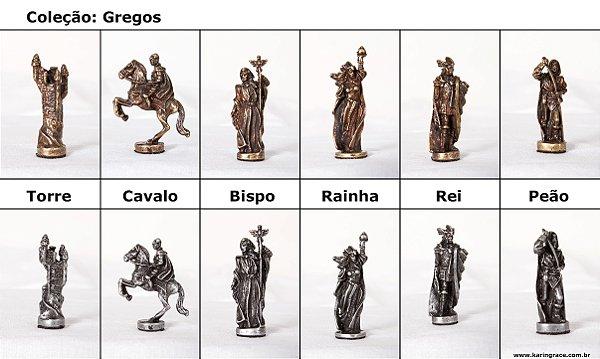 Peças de Xadrez de Ferro - Coleção Gregos (32 peças)