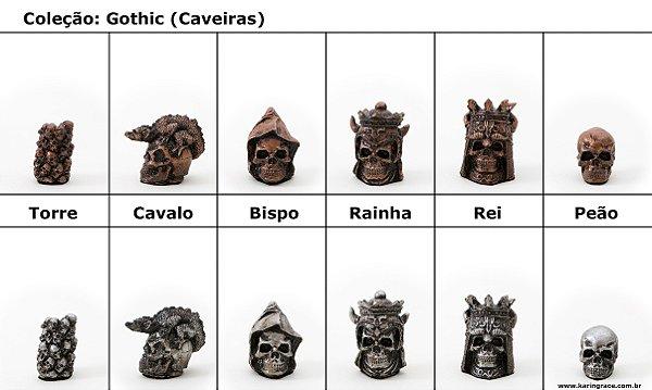 Peças de Xadrez KG de Resina - Coleção Gothic (32 peças)