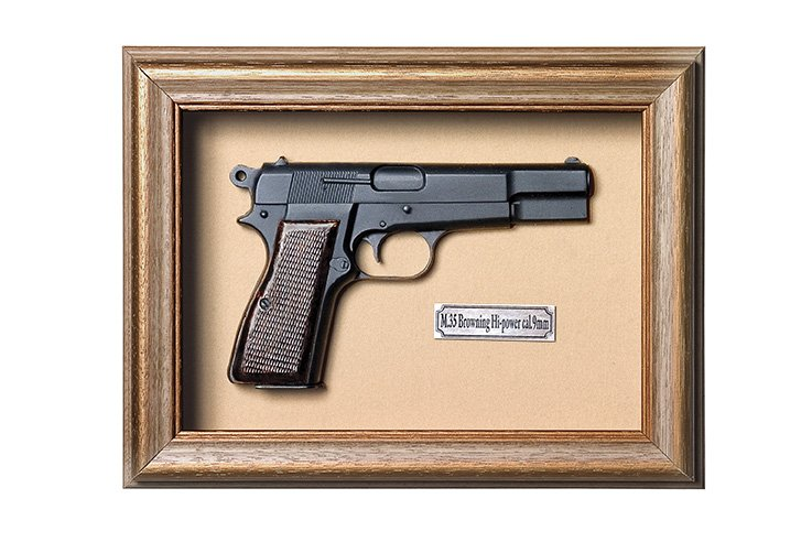 Quadro de Arma Resina KG M.35 Browning Hi-power cal.9mm - Clássico