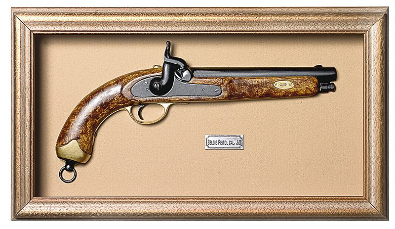 Quadro de Arma Resina KG Belgie Pistol Cal. .60 - Clássico