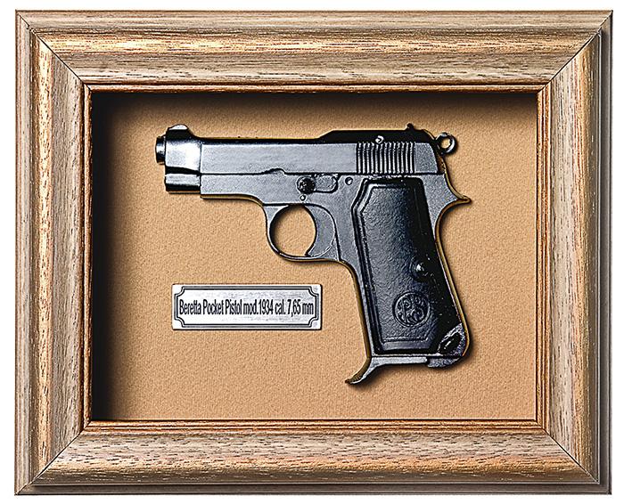 Quadro de Arma Resina KG Beretta Pocket Pistol mod. 1934 cal. 7,65 mm - Clássico