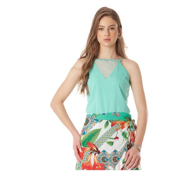 3b4e9199df blusa de alça com decote em tule - Sonho de Maria boutique