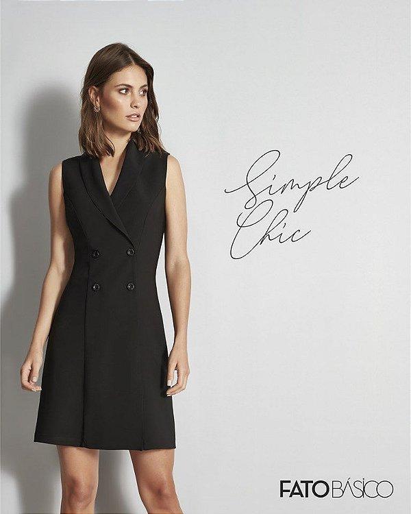 vestido alfaiataria preto Fato Básico