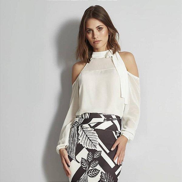 blusa mix com ombro a mostra