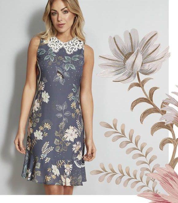 Vestido estampado leve e sofisticado