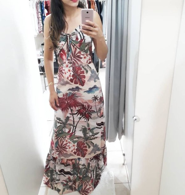 Vestido longo estampado Fato Básico