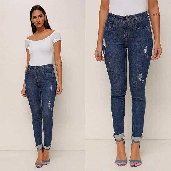 Calça jeans destroyed skinny