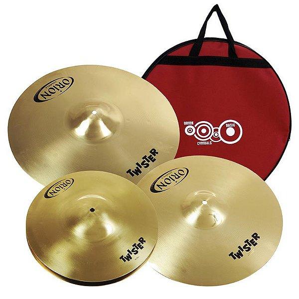 """Kit De Pratos Orion Twister Twr75 13"""" 16"""" 18"""" Com Bag"""