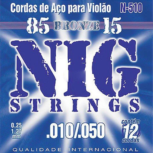 Encordoamento Violão Aço 12 Cordas Nig 010 N510 Bronze 85/15