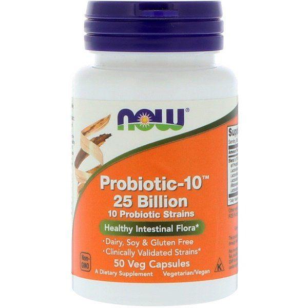 Now Foods, Probiotic-10, 25 bilhões, 50 Cápsulas Vegetais