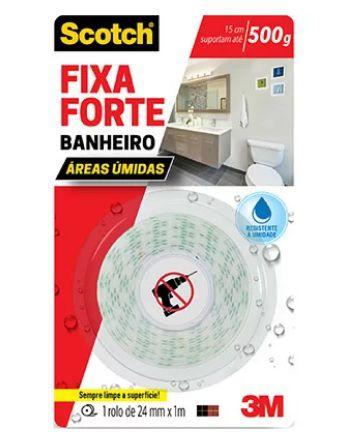 Fita Dupla Face Fixa Forte Banheiro 24mmx1m 500g - 3m