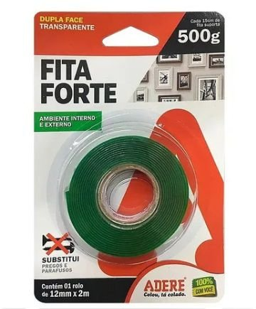 Fita Dupla Face Extra Forte Adere 12mm x 2m