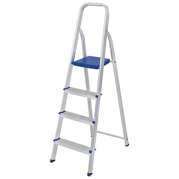 Escada Aluminio Domestica 4 degraus Mor