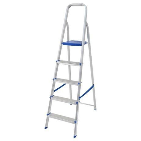 Escada Aluminio Domestica 5 degraus Mor
