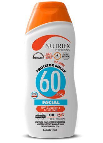 Protetor Solar Facial Fator 60 Com Repelente Nutriex 120ml