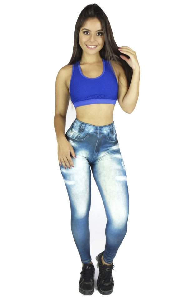 Calça Legging Jeans Sublimada Azul Clara