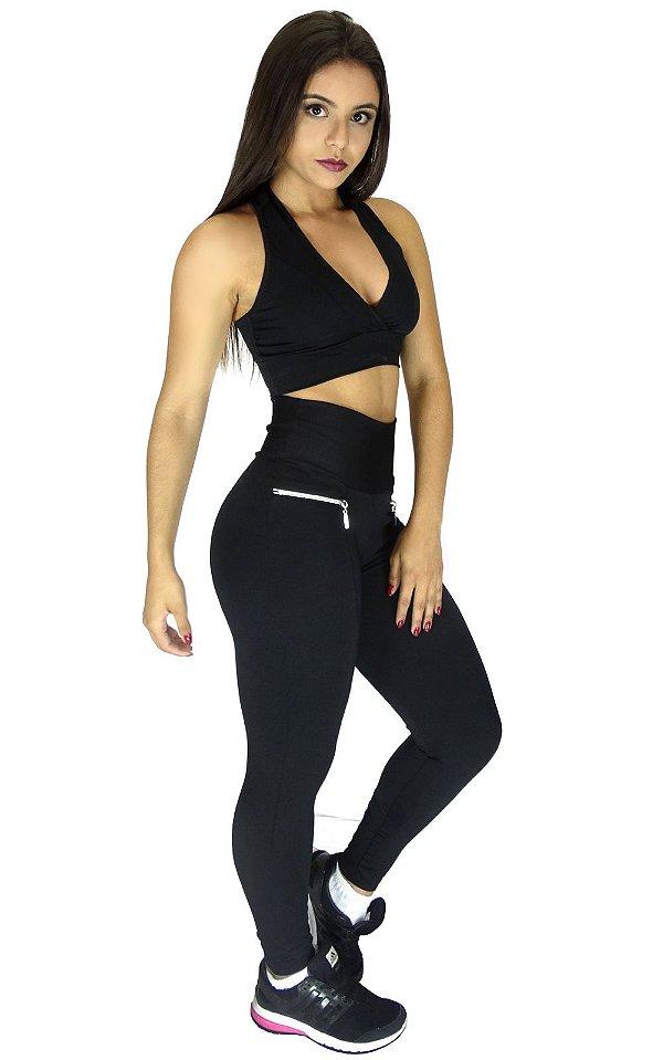 Calça Legging Montaria com Ziper Duplo Cintura Alta Preta
