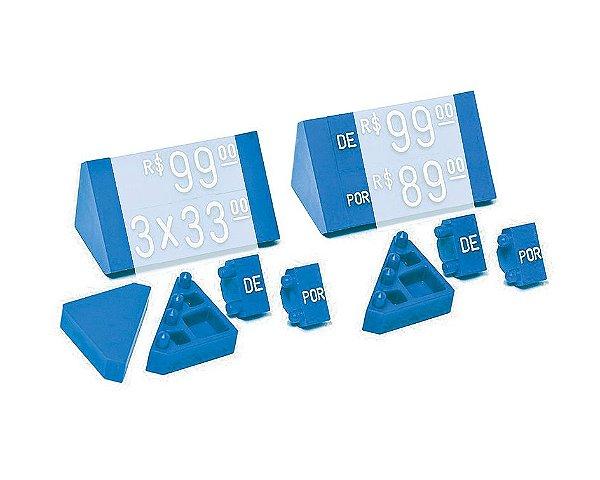 """Ponteira Dupla para Displays de Mesa + Palavras """"DE"""" e """"POR"""" (60 peças) - Azul com Branco"""