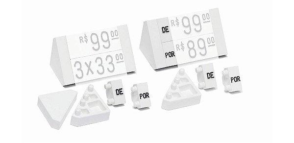 """Ponteira Dupla para Displays de Mesa + Palavras """"DE"""" e """"POR"""" (60 peças) - Branco com Preto"""