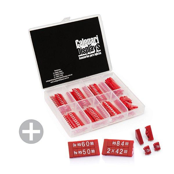 Kit de Preços para Jóias (380 Peças) - Vermelho com Branco