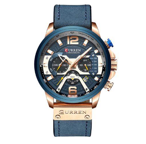 Relógio Curren Blue Luxo Masculino pulseira Couro