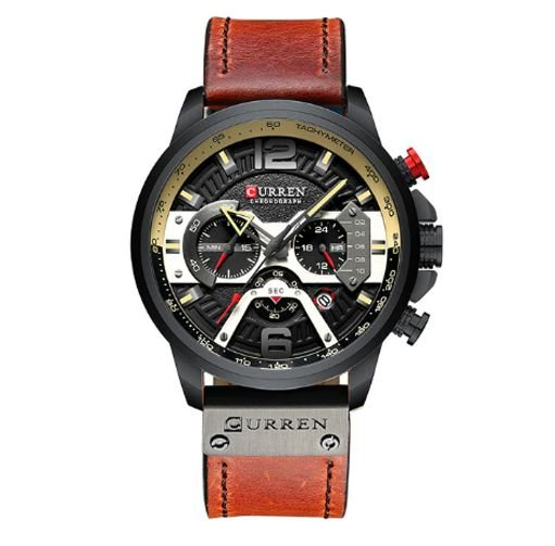 Relógio Curren black couro Luxo Masculino pulseira magento