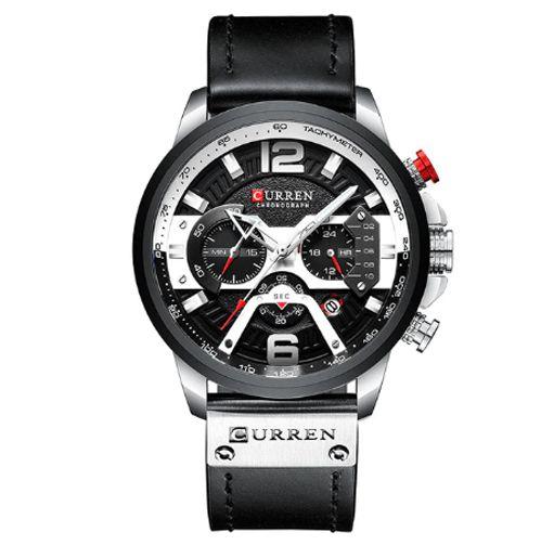 Relógio Curren black Cromo Luxo Masculino pulseira