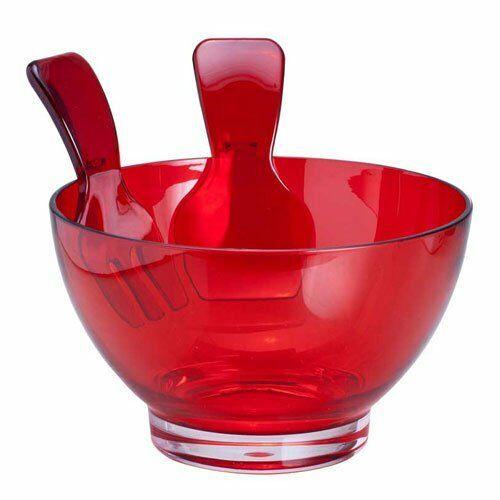 Saladeira Mesa Acrílica Vermelha Casa Ambiente com talheres