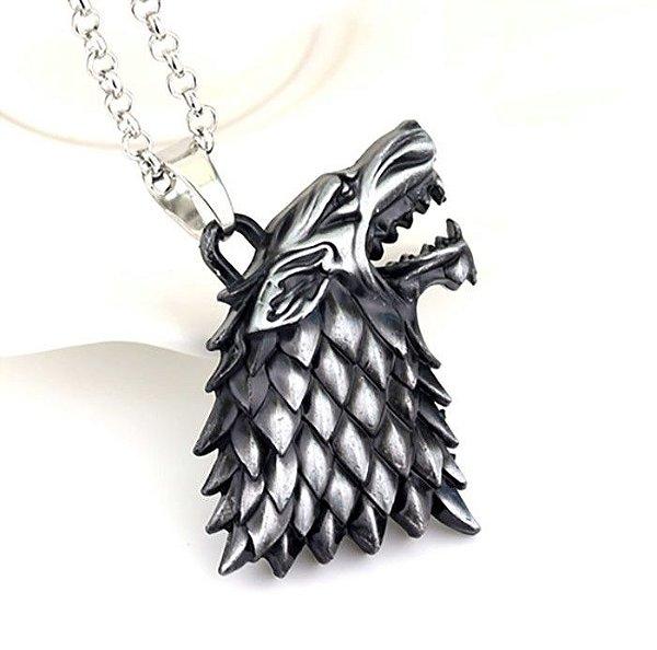 Colar E Pingente Stark Game Of Thrones Lobo Wolf