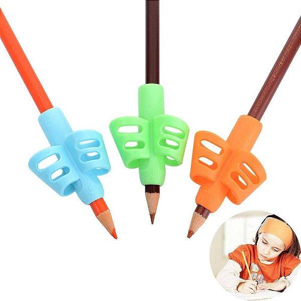 6 Kits De 3 Finger Grip Porta Lápis Caneta Crianças Escrita