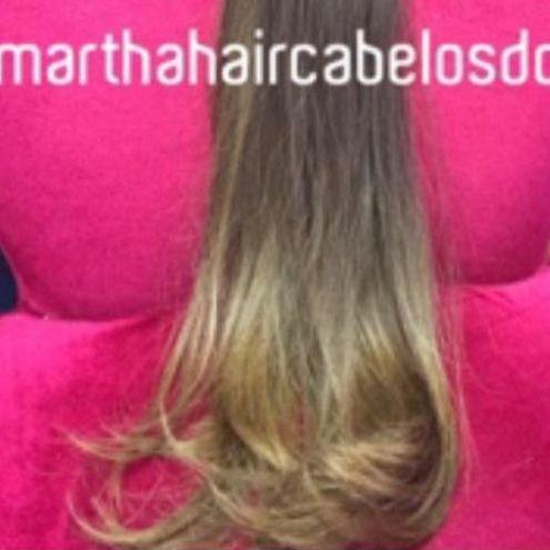 Cabelo loiro Martha Hair Nº 7, cor natural, ondulado nas pontas, com coloração (kit com 25g)